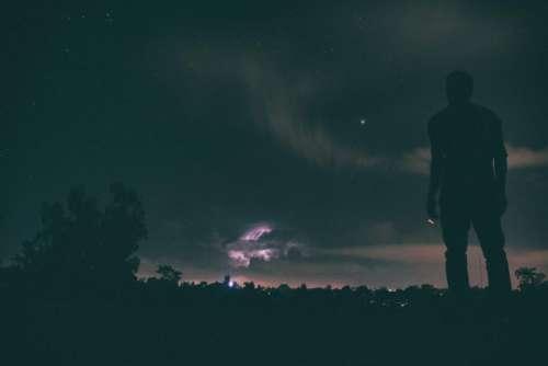 dark night people man alone