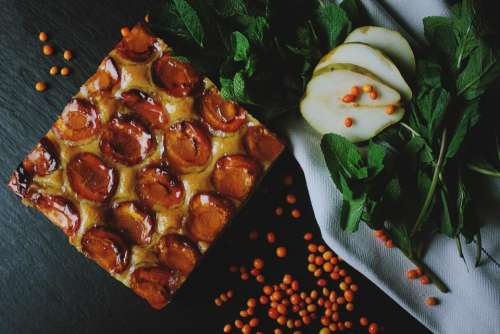 fruit pears food pie syrup