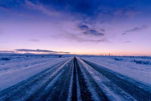 frozen winter road landscape rural
