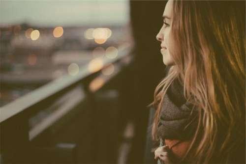 girl looking brunette long hair woman
