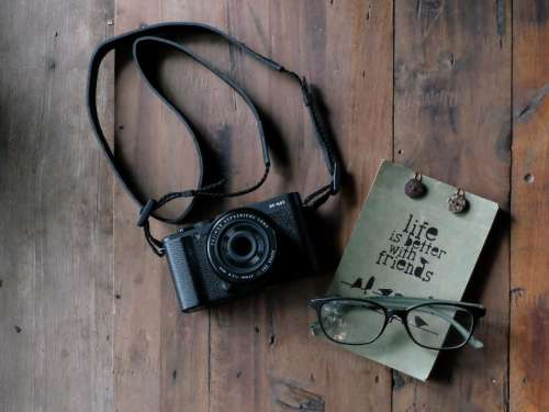camera slr photography eyeglasses notepad