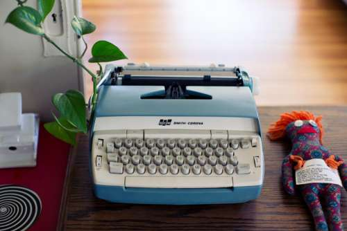 typewriter writing office desk business