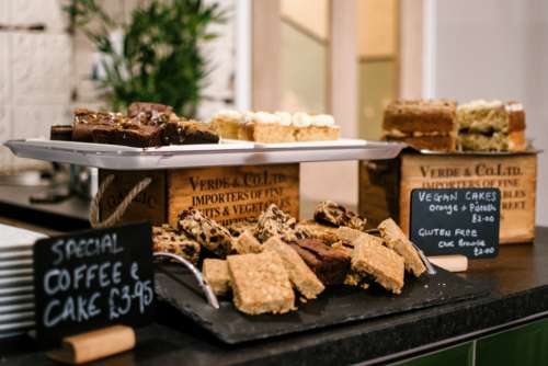 bakery cakes stand brownies food