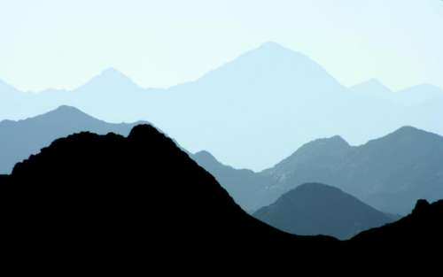 nature mountains sky blue silhouette