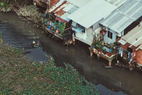 river water residential area houses