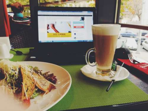 cafe lunch coffee laptop food