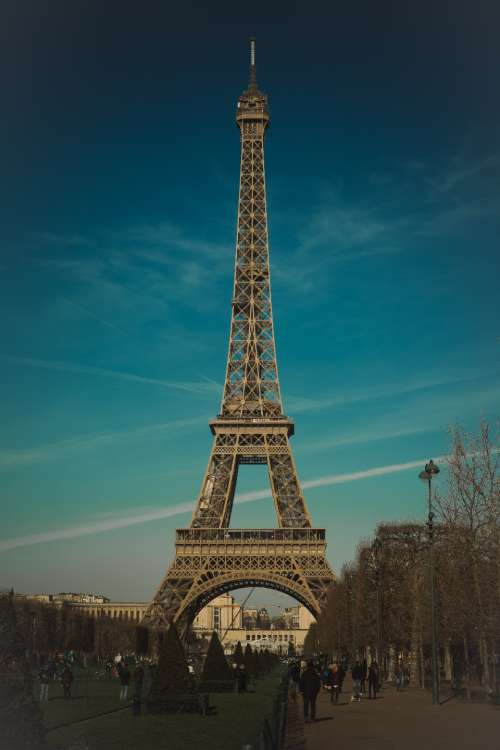 eiffel tower paris france blue sky blue