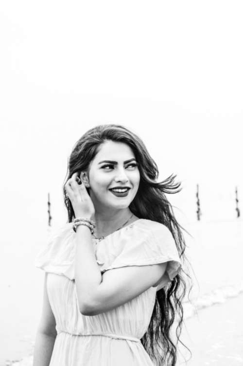 woman happy dress black and white monochrome