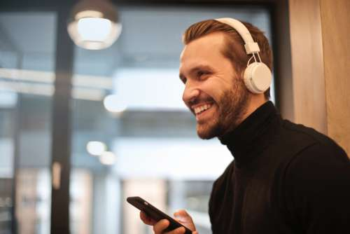man music smile beard headphones