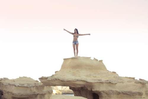 woman bikini rock climb top