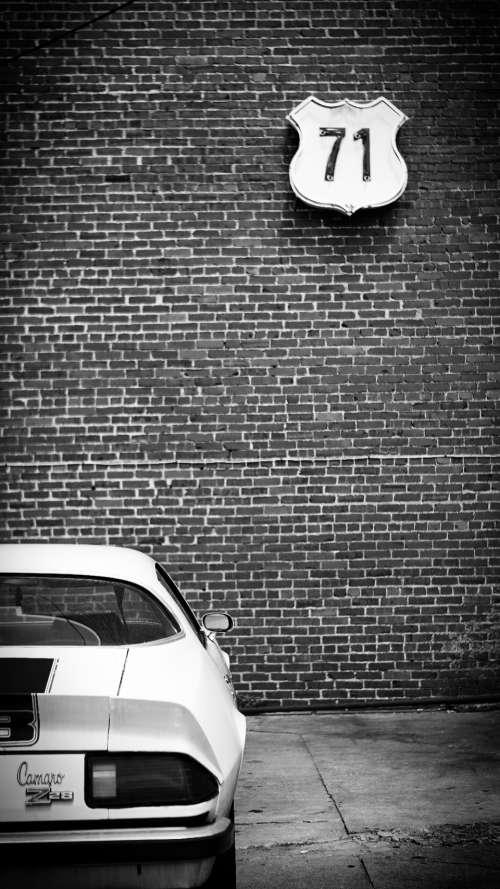 camaro car black & white transport vintage