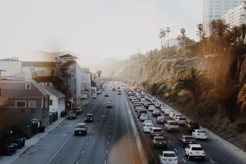 highway traffic sunlight coastal road