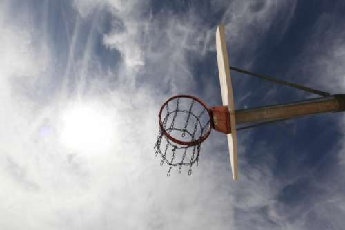 basketball hoop net chain sky