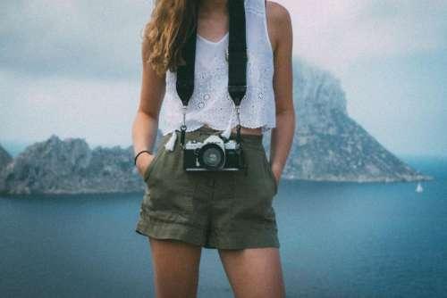 girl woman photographer camera lens