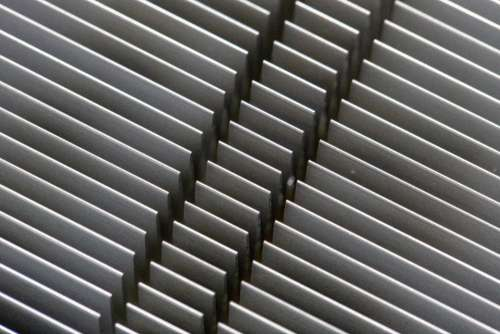 abstract Aluminum pattern fins silver