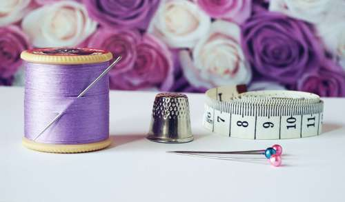 sewing cotton thread cotton reels lilac measuring tape