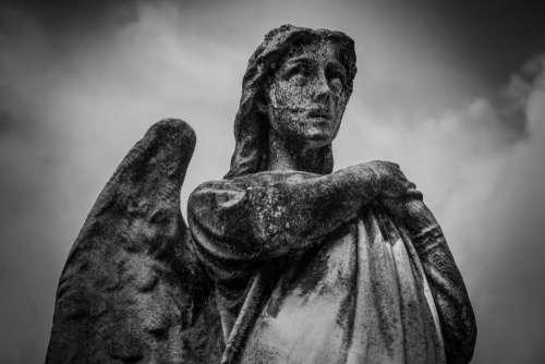 angel statue sculpture monument monochrome