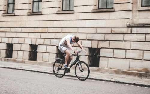 people man guy bicycle road