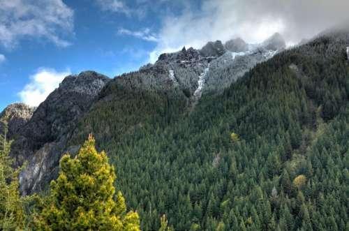 mountain highland cloud blue sky