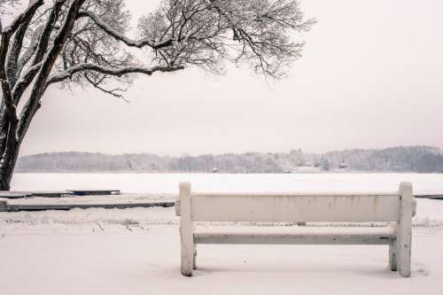 snow bench park river lake