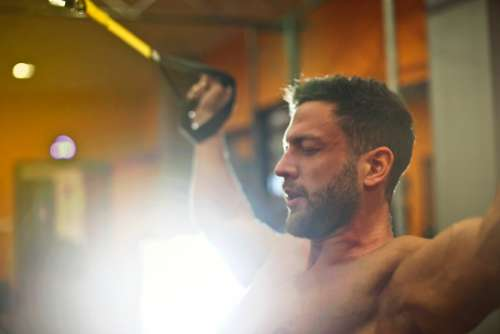 man workout gym studio male