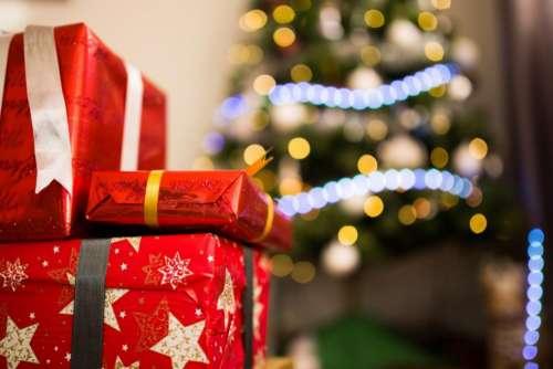 christmas celebration holiday ribbon gift