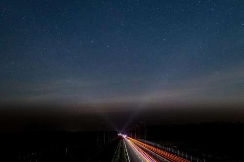 dark night road lights highway