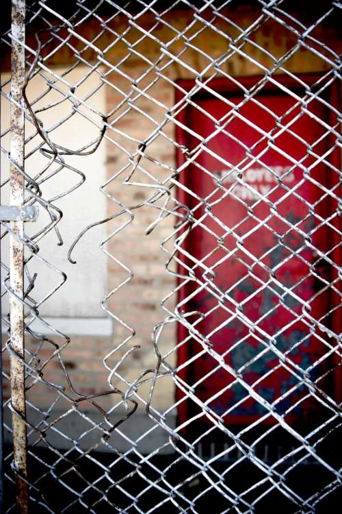 chicken wire fence door red