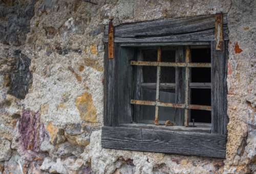 rough wooden window house purple
