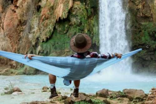 people man chill relax hammock