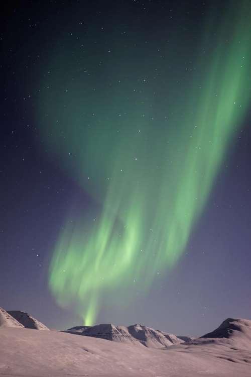 aurora green sky nature highland