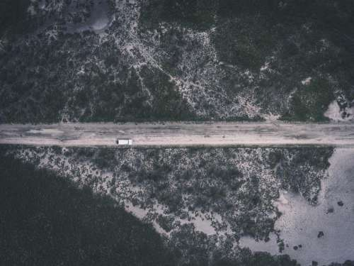 top view vehicle car aerial road