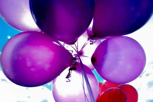balloon colorful red blue violet