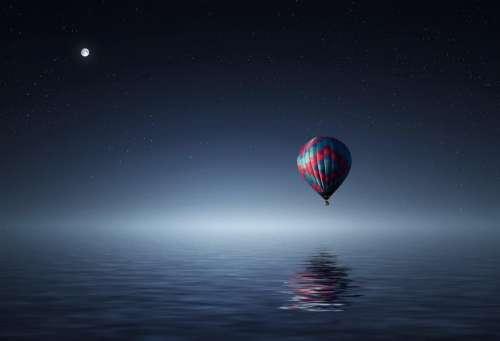 hot air balloon blue sky stars moonlight