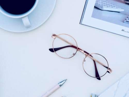 coffee black glasses desk office