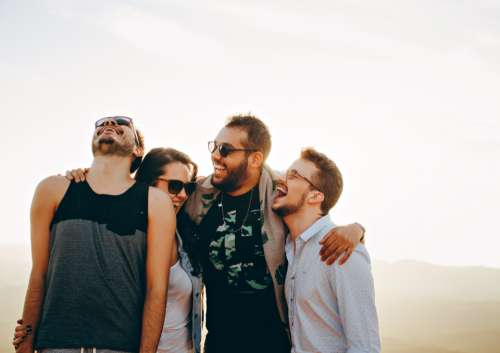 group friends laughing people man