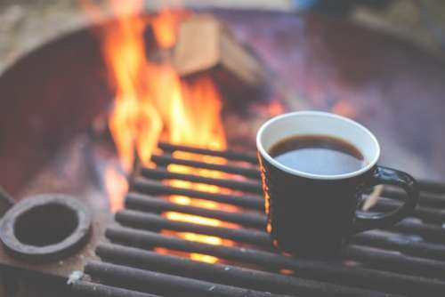 coffee mug cup grill bonfire