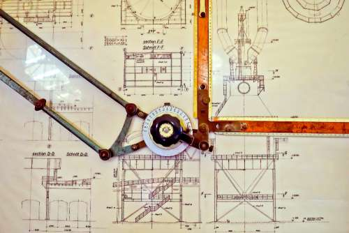 blueprint plan design drawing board