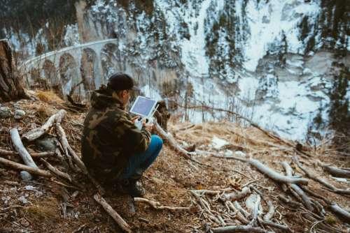 people woman travel adventure tablet
