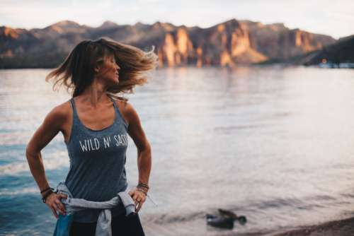 woman workout lake yoga female
