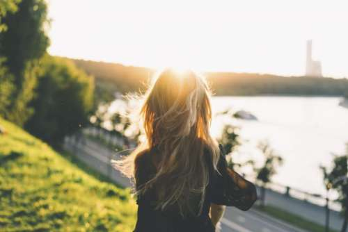 people woman hair sunset nature