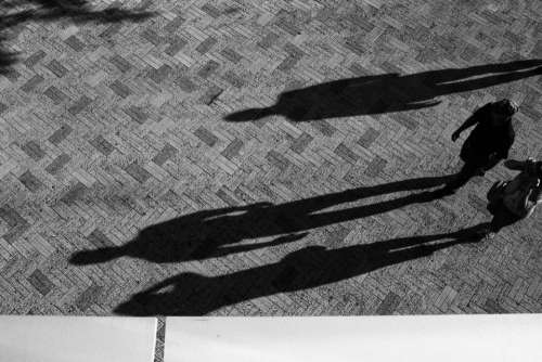 floor black and white people shadow sunny