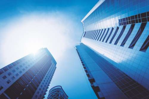 architecture building infrastructure cloud blue