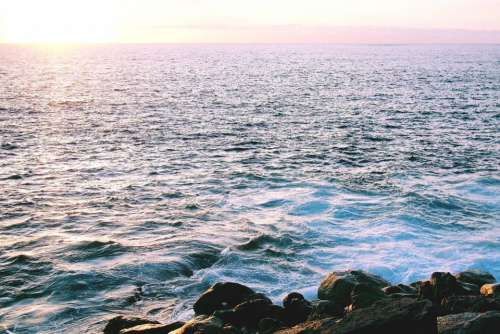 sunset sky ocean sea water