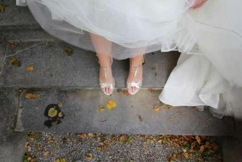 white wedding gown dress leg