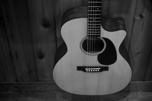 wall display black and white guitar string