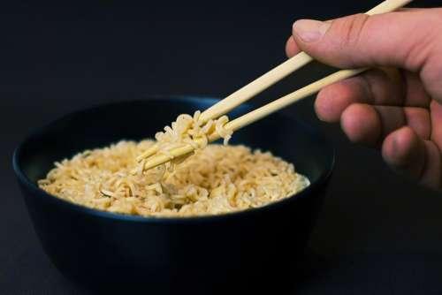 noodles soup chopsticks bowl food