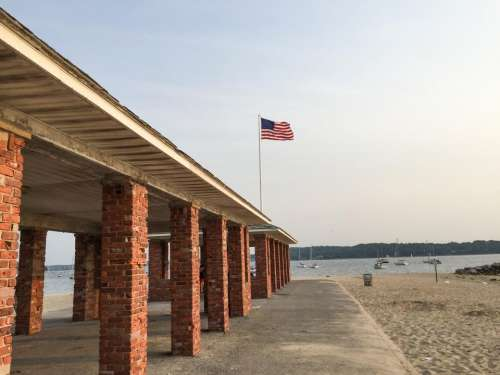 beach sand american flag USA