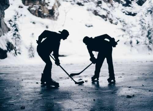 sports hockey ice hockey snow face off
