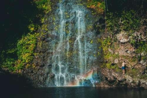 waterfall green grass moss tree